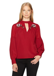 XOXO Women's Embroidered Gigi Neckline Top