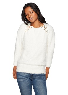 XOXO Women's Eyelash Lace up Detail Pullover Sweater