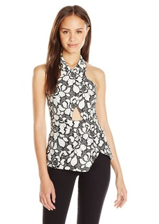 XOXO Women's Floral Halter Neck Lace Top