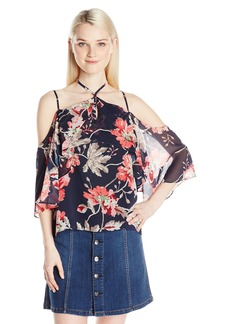 XOXO Women's Floral Print Ruffle Off The Shoulder Top