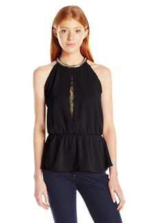 XOXO Women's Georgette Like Bejeweled Neck Peplum Top