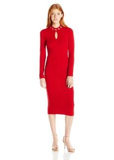 XOXO Women's Grommet Mock Neck Sweater Midi Dress