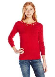 XOXO Women's Grommet Neck Detail Pullover Sweater