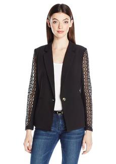 XOXO Women's Lace Back and Sleeved Jacket W/ Welt Pockets