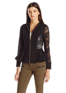 XOXO Women's Lace Peplum Zip Jacket
