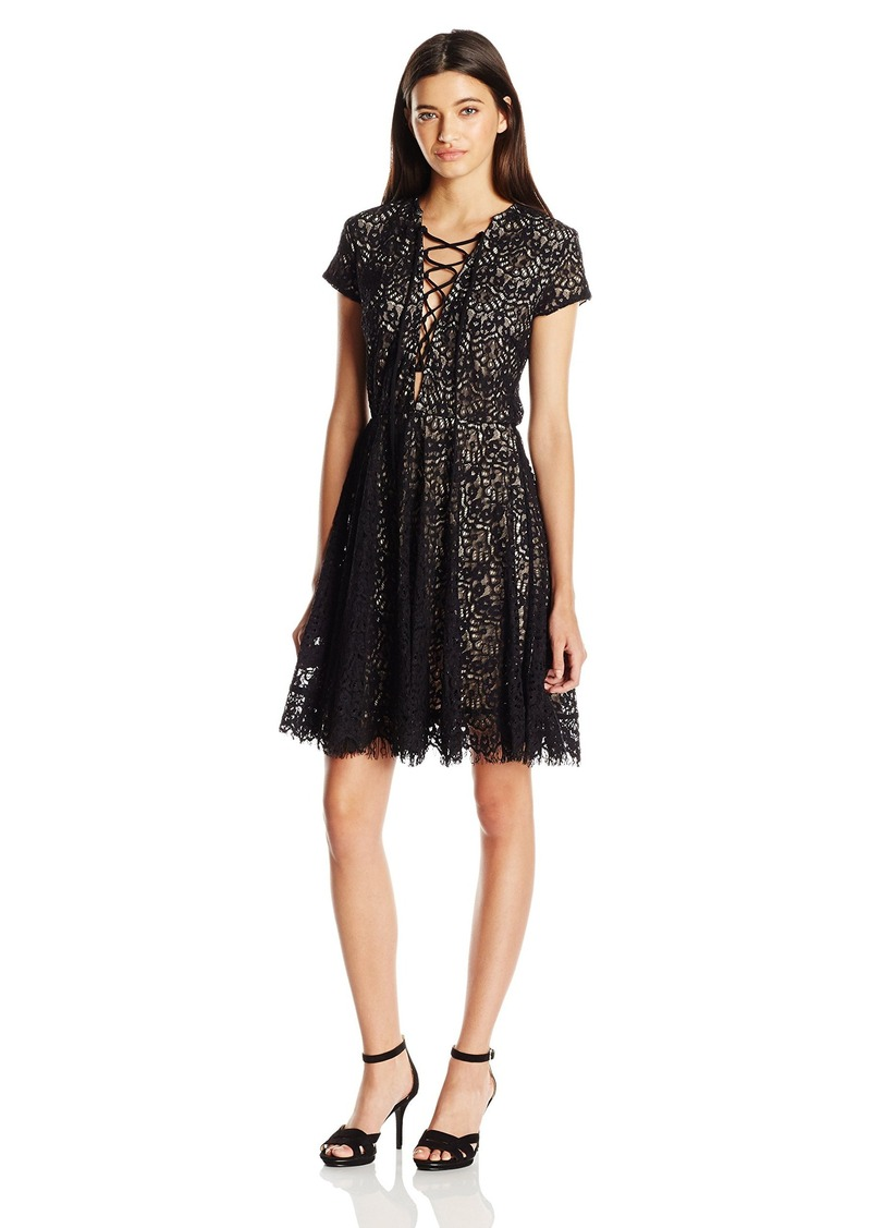 XOXO Women's Lace up Scallop Edge Lace Fit and Flare Dress