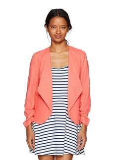 XOXO Women's Linen Rouched Sleeve Jacket