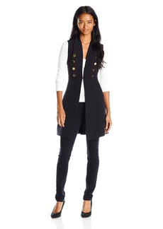 XOXO Women's Long Button Front Vest