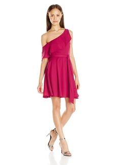 XOXO Women's Magic Crepe One Shoulder Ruffle Dress