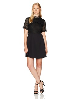 XOXO Women's Mixed Lace Skater Dress
