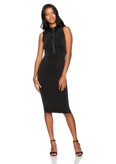 XOXO Women's Mockneck Lurex Zip Bodycon Dress