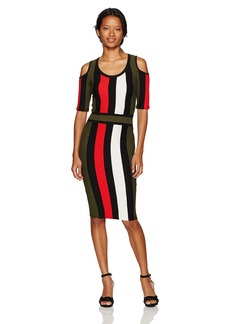 XOXO Women's Multi Color Stripe Stitch Dress