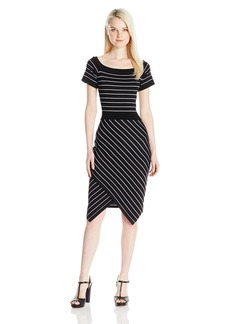 XOXO Women's Off Shoulder Striped Split Skirt Dress