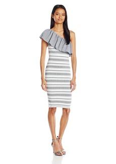 XOXO Women's One Shoulder Jacquard Stripe Pattern Dress