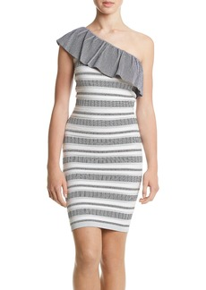 XOXO Women's One Shoulder Jacquard Stripe Pattern Dress