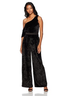 XOXO Women's One Shoulder Velvet Ruffle Jumpsuit
