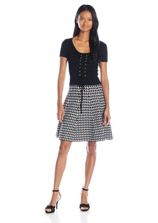 XOXO Women's Pattern Fit and Flare Dress