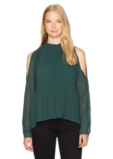 XOXO Women's Pleated Cold Shoulder Blouse