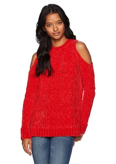 XOXO Women's Pointelle Cold Shoulder Super Soft Pullover Sweater