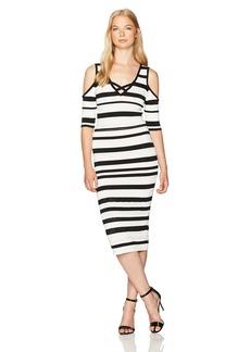 XOXO Women's Pointelle Stitch Stripe Midi Dress IVORYBLACK
