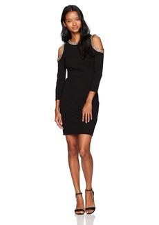 XOXO Women's Ponte Embellished Cold Shoulder Bodycon Dress