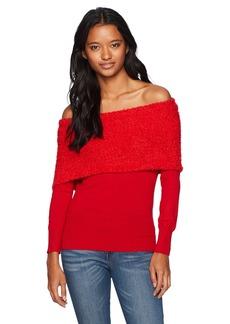 XOXO Women's Popcorn Eyelash Off The Shoulder Sweater red