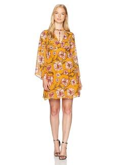 XOXO Women's Printed Harness Neck Dress