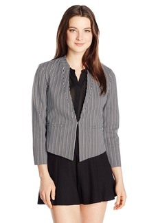 XOXO Women's Printed Hook and Eye Front Blazer