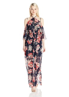 XOXO Women's Printed Ruffled Off the Shoulder Dress Withslit