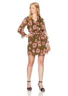 XOXO Women's Printed Smocked Waist Ruffle Dress