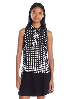 XOXO Women's Printed Tie Neck Sleeveless Top Black/Ivory