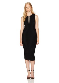 XOXO Women's Rib Stitch Lace up Midi Dress