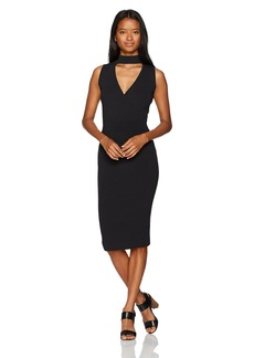 XOXO Women's Rib Wrap Front Mock Neck Midi Dress