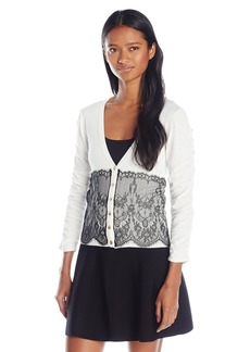 XOXO Women's Rouched Sleeve Lace Front Cardigan