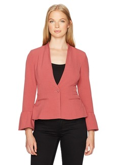XOXO Women's Ruffle Sleeve Blazer
