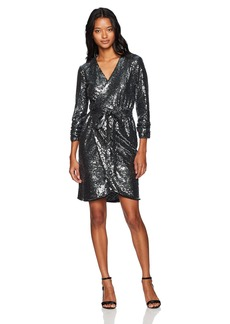 XOXO Women's Sequin Long Sleeve Wrap Dress
