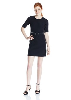 XOXO Women's Short Sleeve Zipper Welt Pocket A-Line Sheath Dress