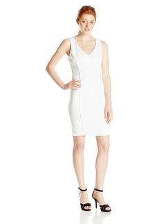 XOXO Women's Sleeveless  Sheath Dress with Faux Leather