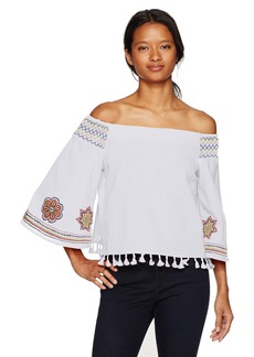XOXO Women's Smocked Off the Shoulder Top