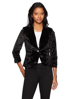 XOXO Women's Stretch Crushed Velvet Ruched Sleeve Blazer