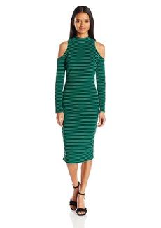 XOXO Women's Stripe Cold Shoulder Midi Dress