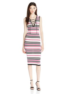 XOXO Women's Pink Striped Body Con Midi Dress