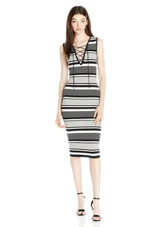 XOXO Women's Striped Body Con Midi Dress Black/Ivory