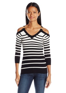 XOXO Women's Striped Cold-Shoulder Sweater
