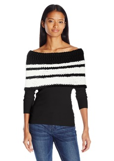 XOXO Women's Striped Off The Shoulder Popcorn Pullover Sweater