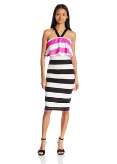 XOXO Women's Striped Pop Over Midi Dress Black/Ivory