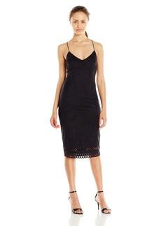 XOXO Women's Suede Laser Cut Hem Dress