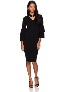 XOXO Women's Tiered Bell Sleeve Dress
