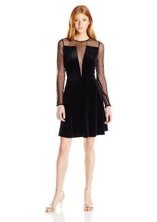 XOXO Women's Valentine Velvet Long Sleeve Mesh Illusion Dress
