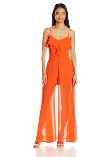 XOXO Women's Woven Crepe Ruffle Romper Maxi Dress